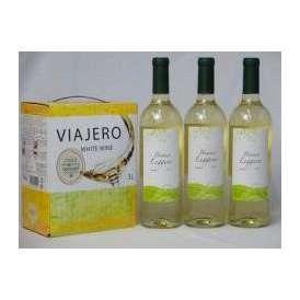 チリ産大容量白ワイン飲み比べセット(VIAJERO(ヴィアヘロ 白ワイン  3000ml クレマスキ リゲロ ビアンコ チリ白ワイン  750ml×3本)