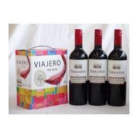 チリ産大容量赤ワイン飲み比べセット(ヴィアヘロ 赤ワイン ミディアムボディ 3000ml  テラ・スル カベルネ  ミディアムボディ 750ml×3本)
