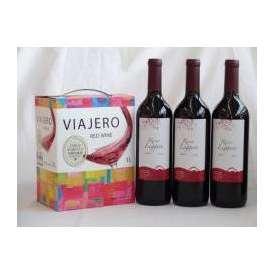 チリ産大容量赤ワイン飲み比べセット(ヴィアヘロ 赤ワイン ミディアムボディ 3000ml  クレマスキ リゲロ・ロッソ  ミディアムボディ 750ml×3本)