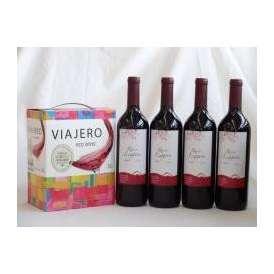チリ産大容量赤ワイン飲み比べセット(ヴィアヘロ 赤ワイン ミディアムボディ 3000ml  クレマスキ リゲロ・ロッソ  ミディアムボディ 750ml×4本)