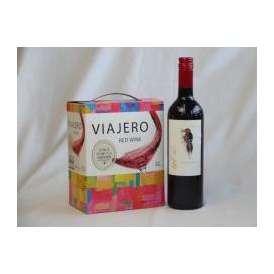 チリ産大容量赤ワイン飲み比べセット(VIAJERO(ヴィアヘロ)赤ワイン3000ml デル・スール・カベルネソーヴィニヨン チリ赤ワイン フルボディ 750ml)母の日
