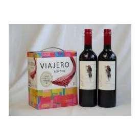 チリ産大容量赤ワイン飲み比べセット(VIAJERO(ヴィアヘロ)赤ワイン3000ml デル・スール・カベルネソーヴィニヨン チリ赤ワイン フルボディ 750ml×2)