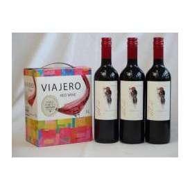 チリ産大容量赤ワイン飲み比べセット(VIAJERO(ヴィアヘロ)赤ワイン3000ml デル・スール・カベルネソーヴィニヨン チリ赤ワイン フルボディ 750ml×3)