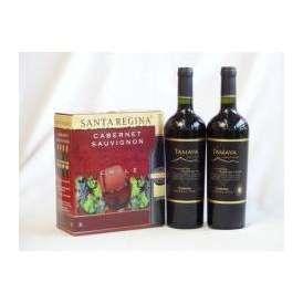 チリ産大容量赤ワイン飲み比べセット2(サンタ・レジーナ カベルネ・ソーヴィニヨン 赤ワイン フルボディ3000ml TAMAYA タマヤ カベルネソーヴィニヨン レゼルバ チリ赤ワイン フルボディ 7