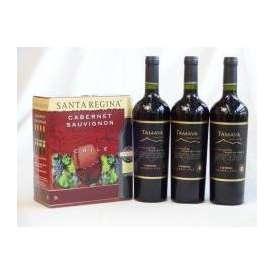 チリ産大容量赤ワイン飲み比べセット3(サンタ・レジーナ カベルネ・ソーヴィニヨン 赤ワイン フルボディ3000ml TAMAYA タマヤ カベルネソーヴィニヨン レゼルバ チリ赤ワイン フルボディ 7