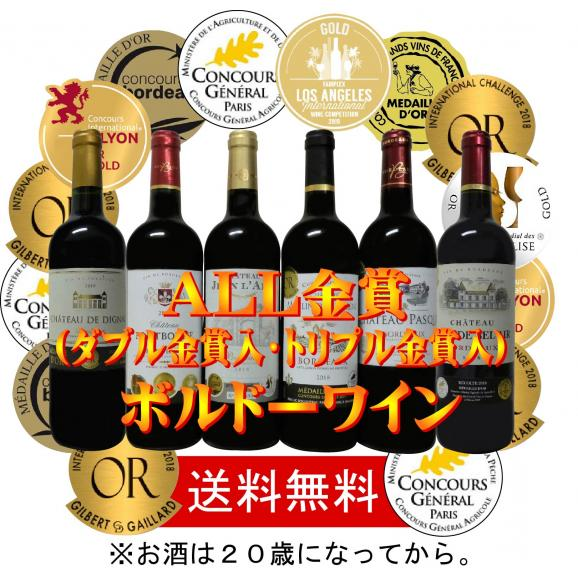 ALLダブル金賞受賞 フランスボルドー赤ワイン6本セット 赤ワインセット ソムリエ厳選 750ml×6本02