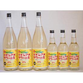 パインアメサワーの素セット 甘酸っぱくジューシーパイナップル果汁 25度 中野BC(和歌山県)600ml×3本 1800ml×3本