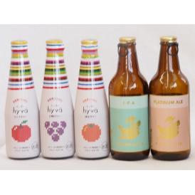 クラフトビールとリキュール5本セット(ヒュヴァ リンゴサワーalc.5% ヒュヴァ 巨峰サワーalc