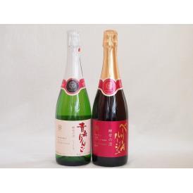 国産スパークリングワイン2本セット(山梨県マスカット・ベーリーAルージュ赤 酵母の泡 やや辛口 青森