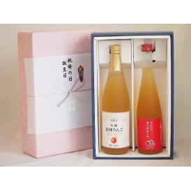 感謝の贈物ボックス 林檎2本セット(信州りんご果汁100% りんご梅酒) 710ml×1本 500m