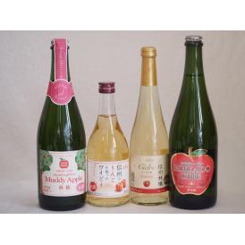 りんご果汁100%ジュースとりんごのお酒4本セット(北海道シードルやや甘口 信州産100%林檎シード