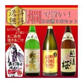 「送料無料」 燗で旨い日本酒1.8飲み比べセット 「燗KING」 「桃川 ねぶた純米」 「越後桜 純米」 1800ml×3本セット  日本酒・清酒