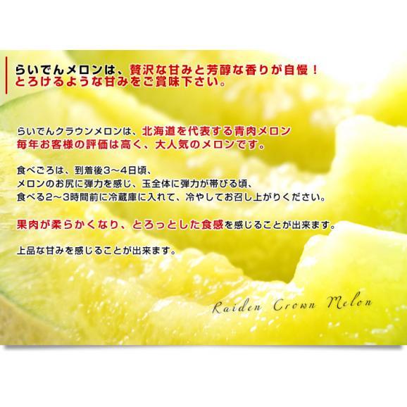 北海道より産地直送 JAきょうわ らいでんクラウンメロン 青肉 超大玉 8キロ(2キロ×4玉)送料無料 共和町 北海道メロン お中元ギフト05