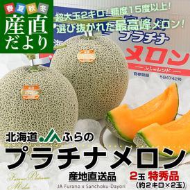送料無料 北海道から産地直送 JAふらの 富良野プラチナメロン 2玉 特秀品(約2キロ)