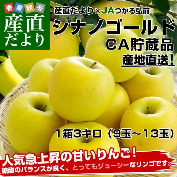 青森県より産地直送 JAつがる弘前 シナノゴールド CA貯蔵品 約3キロ(9玉から13玉)送料無料 りんご しなのごーるど02