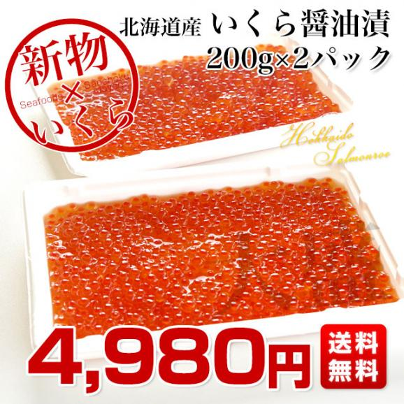 送料無料 北海道産 いくら醤油漬け 200g×2パック03