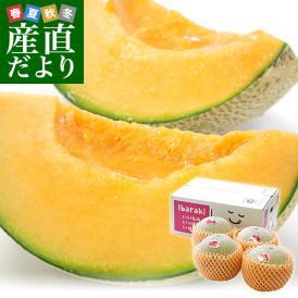 茨城県より産地直送 JA水戸ひぬま レノンメロン(赤肉) 4Lから2L 5キロ箱(3玉から5玉) 送料無料 赤肉メロン