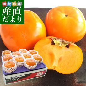 福岡県産 極上甘柿の新品種 秋王(あきおう) 約3.5キロ(9玉から12玉) 送料無料 柿 カキ 市場発送