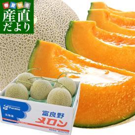 送料無料 北海道産 JAふらの 富良野メロン 5玉 合計約8キロ原体箱 優品以上 ※市場スポット
