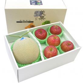 送料無料 高級メロン(アールス)と季節のフルーツ(秀品りんご)セット 化粧箱入り 高級フルーツギフト メロン りんご