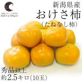 送料無料 新潟県産 おけさ柿 (たねなし柿) 2Lサイズ 約2.5キロ (10玉) たねなし柿 おけさがき オケサカキ