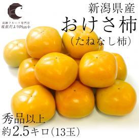 送料無料 新潟県産 おけさ柿 (たねなし柿) Lサイズ 約2.5キロ (13玉) たねなし柿 おけさがき オケサカキ