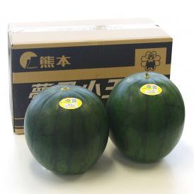 送料無料 熊本県産 夢黒小玉スイカ 秀品 4L又は5Lサイズ 4キロ×2玉化粧箱 すいか 小玉すいか、スイカ、黒小玉スイカ