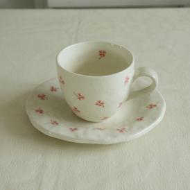 【業務用/産直】【送料無料】ハッピークローバー コーヒー椀皿×6個セット(166A0)n
