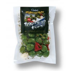 種を抜いたグリーンオリーブをカラブレーゼチリペッパーと無臭ニンニクでピリ辛に味付けしたマリネです。