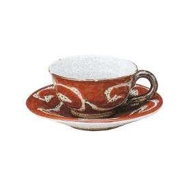 コーヒーカップソーサー 氷雪唐草 赤 コーヒー碗皿 和陶器 和食器 手描き 土物陶器