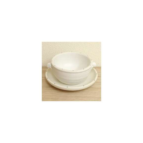 スープカップ&ソーサー耳付スープカップ中皿白ポルカ美濃焼