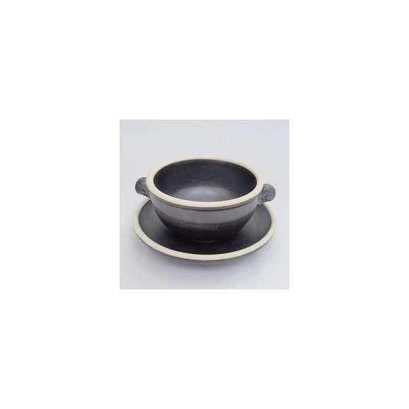 スープカップ&ソーサー耳付スープカップ中皿黒ポルカ美濃焼
