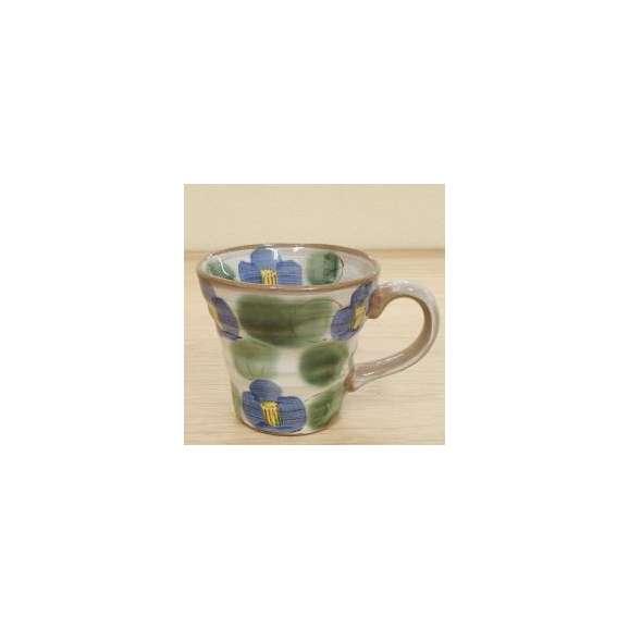 マグカップ化粧土ブルー椿土物美濃焼a625-3-32