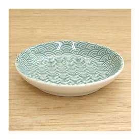 小皿 プレート 13cm 青海波 グリーン 和食器 業務用食器 美濃焼