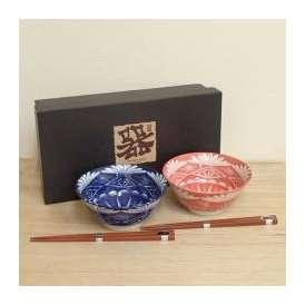 丼ぶり ペアセット 4.8丼 江戸切子風 和食器 【箱入り】 美濃焼