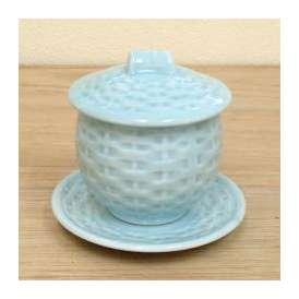 茶碗蒸しの食器 青地カゴメ 強化磁器 受皿付 和食器 業務用