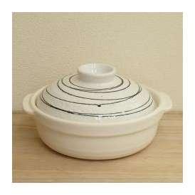 美濃焼 和風カラー土鍋6号 粉引黒ライン 石目
