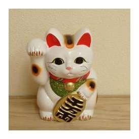 招き猫 置物 白 6号 右手 開運 金運