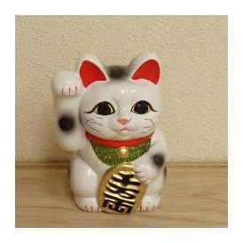 招き猫 置物 白 4号 右手 開運 金運