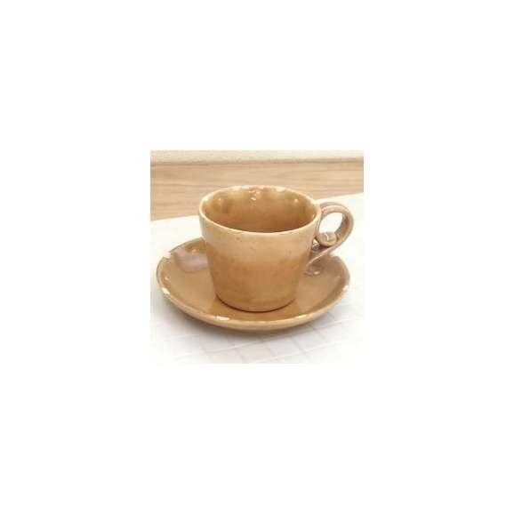 コーヒーカップソーサー黄釉ドット土物美濃焼カフェ食器業務用