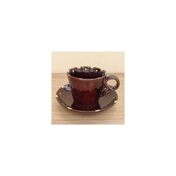 コーヒーカップソーサー飴釉ドット土物美濃焼カフェ食器業務用