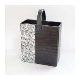 花瓶 陶器 信楽焼 刺子四角花瓶 陶器