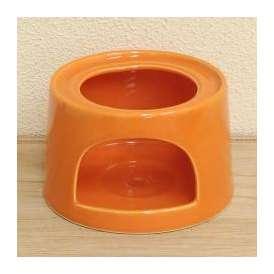 チーズフォンデュ用ソースウォーマー(大) ロウソク専用 ベイクオレンジ 美濃焼