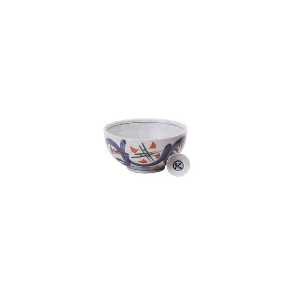 丼うどん・そば・海鮮益子赤丸紋5.5丼白陶器美濃焼業務用食器