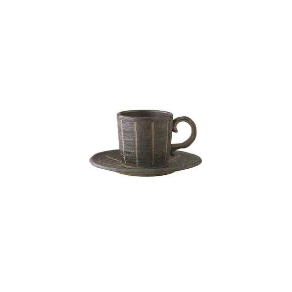 コーヒーカップソーサーストライプ(黒)【箱入り】ギフト内祝い引出物結婚祝い瀬戸焼