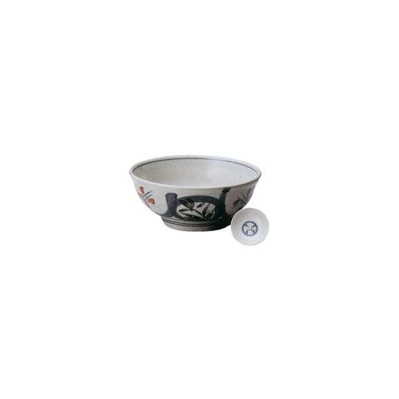 丼うどん・そば・煮物益子赤丸紋7.0丼白鉢陶器美濃焼業務用食器