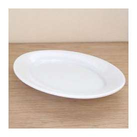36cmプラター 楕円皿 ホワイト フォンテ 洋食器 美濃焼 業務用食器