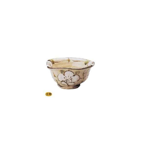 丼うどん・そば・煮物白格子花変型5.5丼ベージュ鉢陶器美濃焼業務用食器