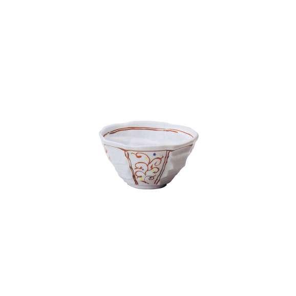 丼うどん・そば・煮物赤絵唐草八角丼白鉢陶器美濃焼業務用食器