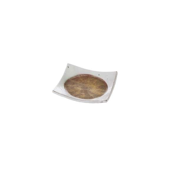 焼物皿朱金彩四方丸紋皿朱金彩と淡雪色和食器美濃焼